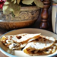 Mushroom and Onion Quesadilla